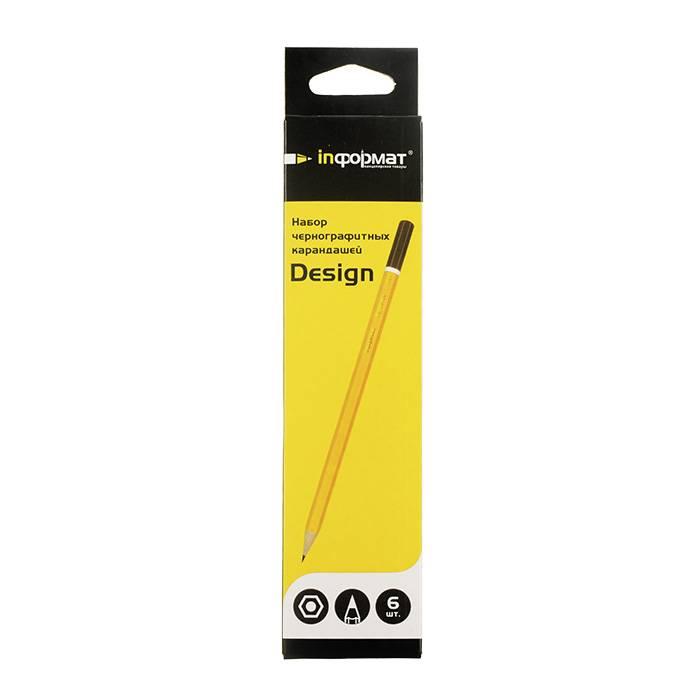 Набор чернографитных карандашей, inФОРМАТ DESIGN, 6 шт/уп, 2В-2Н, заточенные, шестигранные