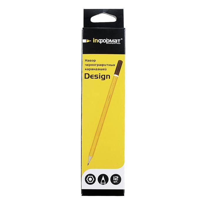 Набор чернографитных карандашей, inФОРМАТ DESIGN, 12 шт/уп, 2В-2Н, заточенные, шестигранные