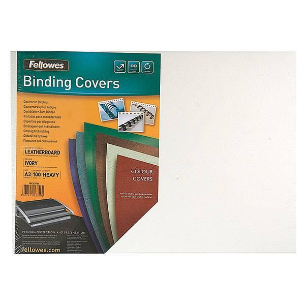 Обложка для переплета FELLOWES DELTA А3 картон 250 г/м² текстура кожа, слоновая кость 100 штук
