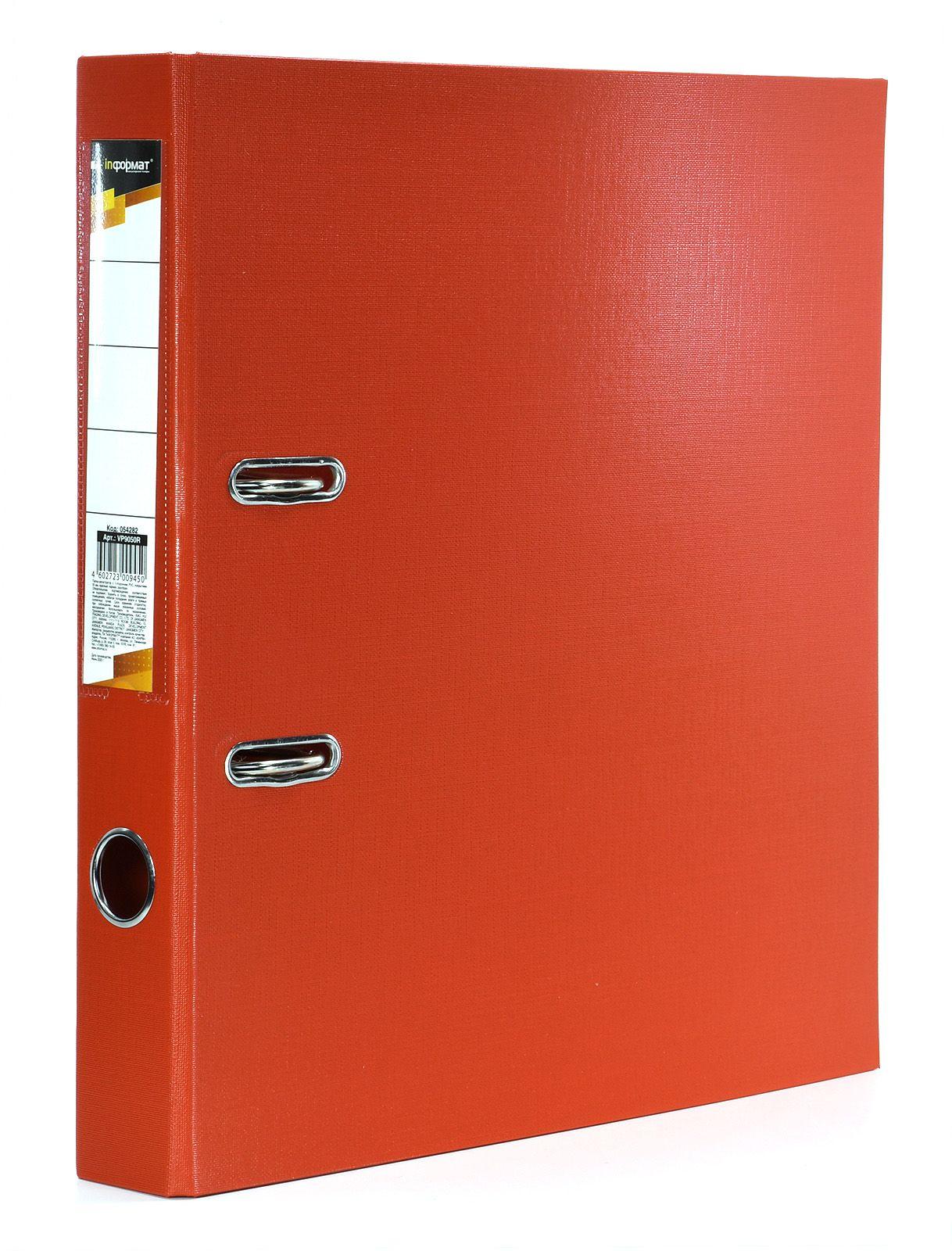 Папка-регистратор INFORMAT 55 мм одностороннее покрытие PVC, красная