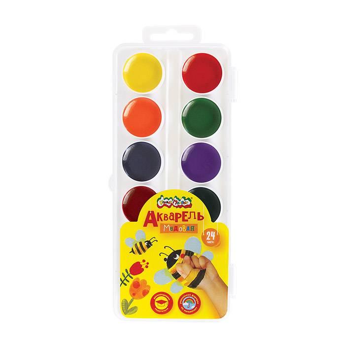 Акварель Каляка-Маляка, 24 цвета, круглый кювет, пластиковая упаковка