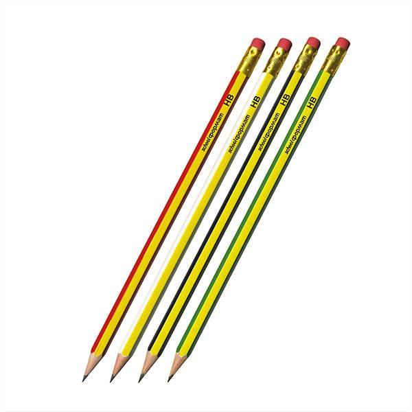 Карандаш Schoolformat Lines HB с ластиком заточенный
