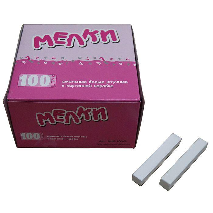 Мелки белые школьные КВАРТЕТ 100 штук, картонная упаковка