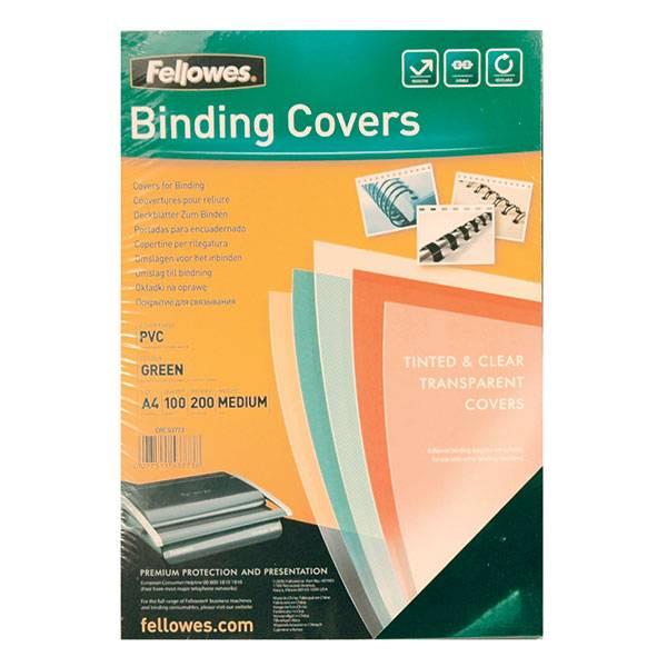 Обложка для переплета FELLOWES А4 пластик 200 мкм прозрачная зеленая 100 штук