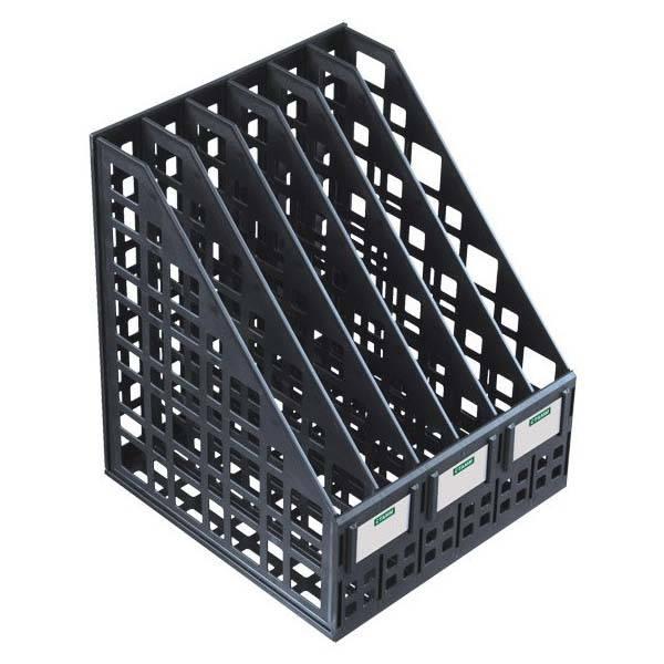 Лоток вертикальный СТАММ сборно-разборный, 6 отделений, 240 мм, черный пластик