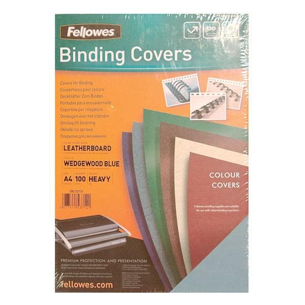 Обложка для перплета FELLOWES DELTA А4 картон 250 г/м² текстура кожа, голубая 100 штук