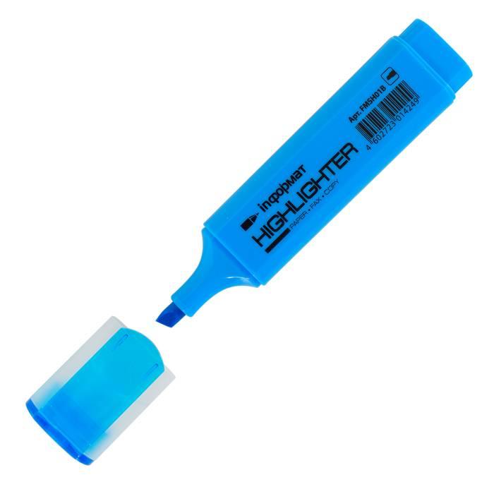 Маркер текстовый inФОРМАТ 1-4 мм голубой скошенный