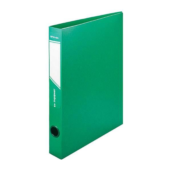 Папка с кольцами inФОРМАТ А4, 4 кольца, 40 мм, пластик 700 мкм, зеленая