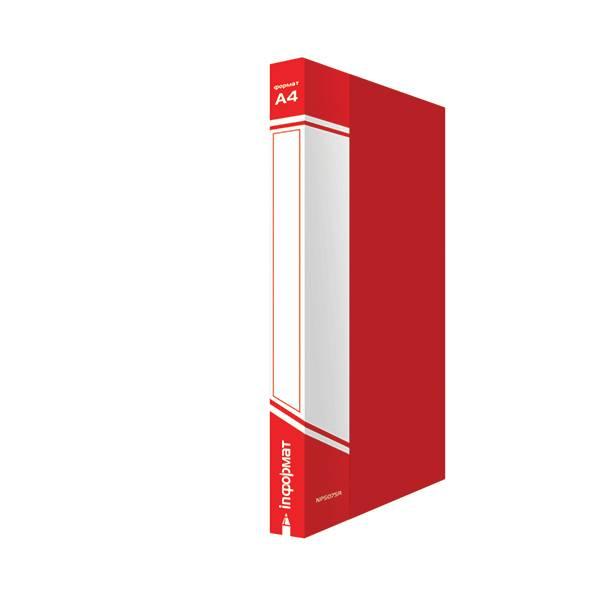 Папка с кольцами inФОРМАТ А4, 4 кольца, 40 мм, пластик 700 мкм, красная