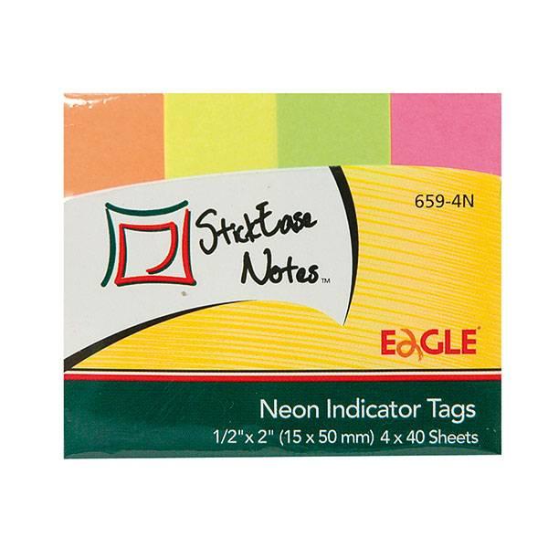 Закладки клейкие бумажные EAGLE 4 цвета по 40 листов, 15х50 мм