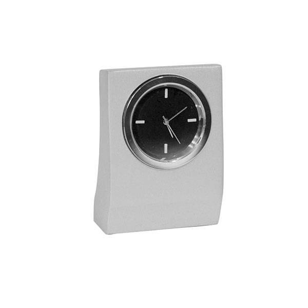 Часы настольные квадратные круглый циферблат металл серый