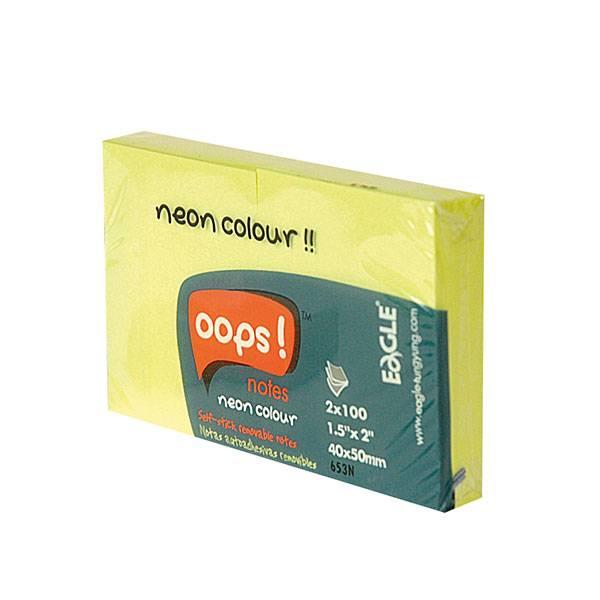 Блок самоклеящийся EAGLE 51х38 мм 2 штуки 100 листов, неон желтый
