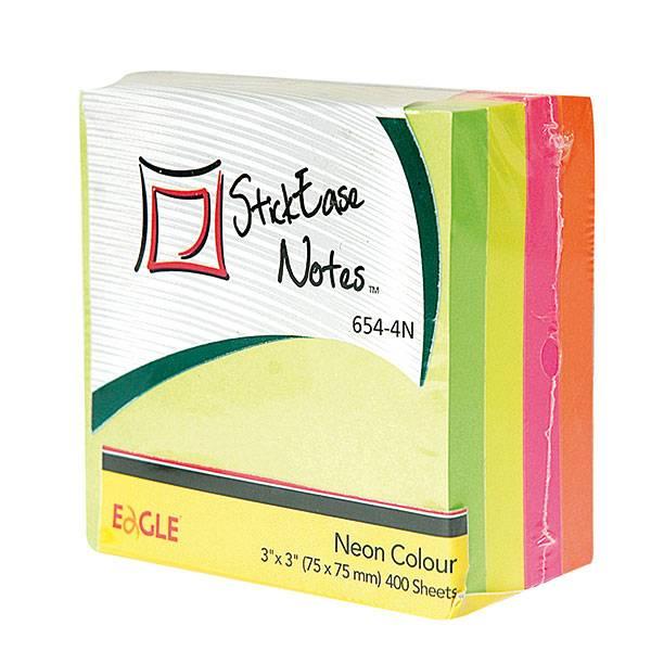 Блок самоклеящийся EAGLE 75х75 мм 400 листов 4 цвета неон