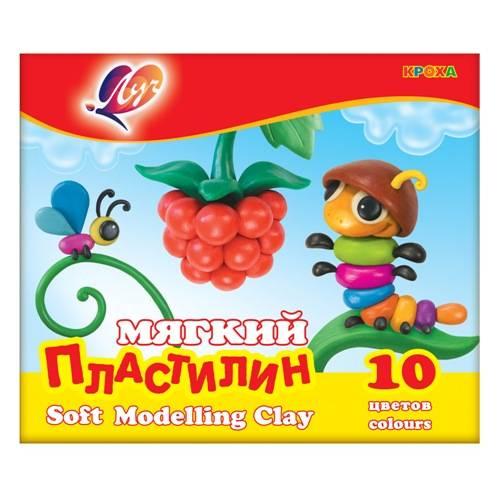 Пластилин ЛУЧ КРОХА 10 цветов 165 г, со стеком