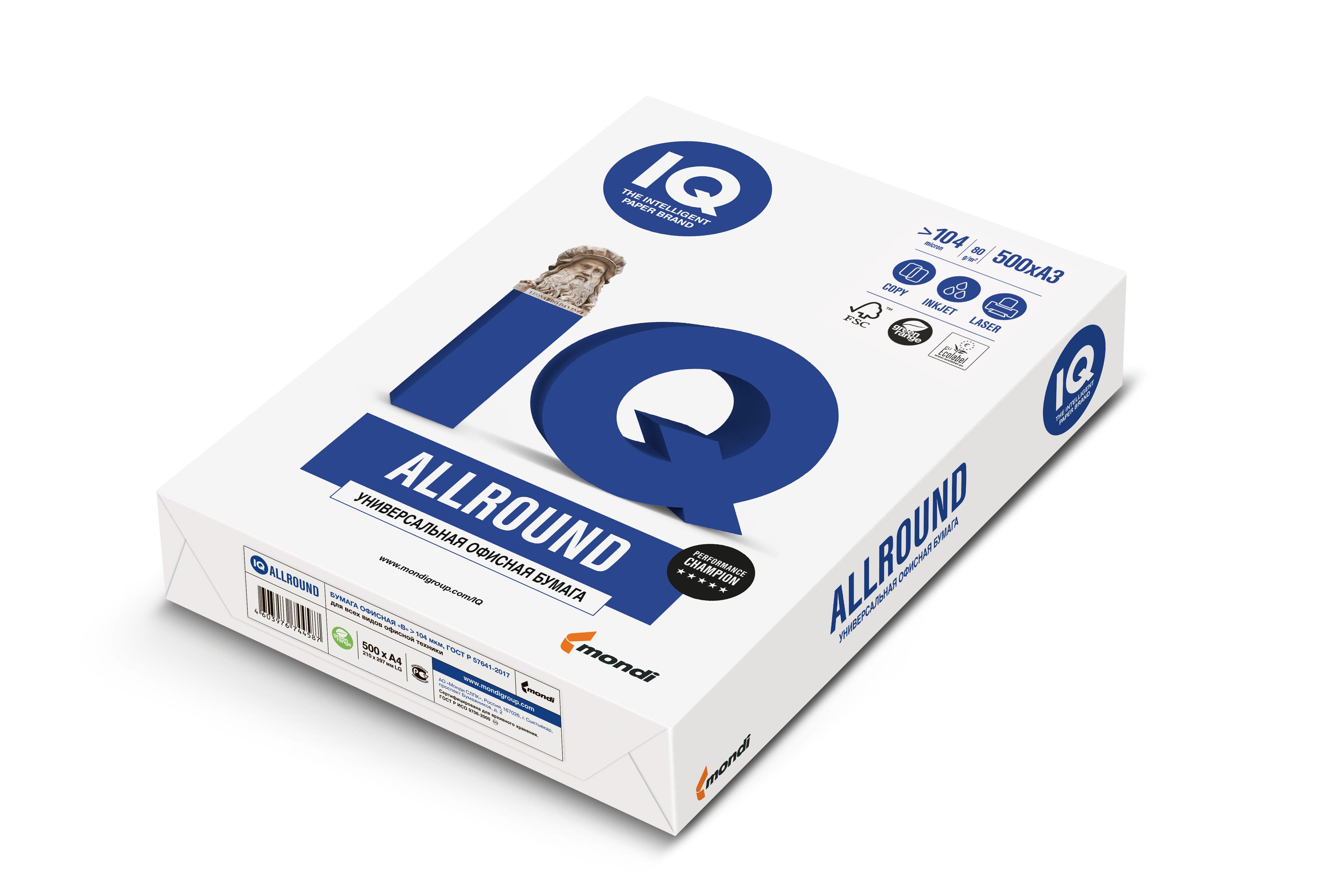 Бумага IQ ALLROUND А4, 80 г/м2, 500 листов, 162% (CIE)