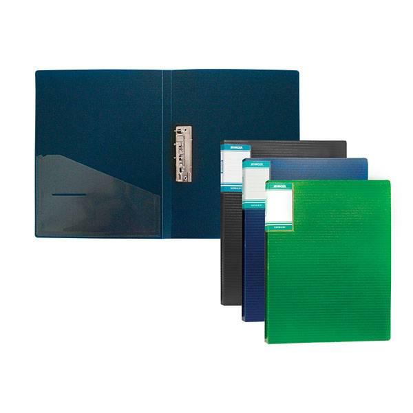 Папка с 1-м прижимом STANGER HOR LINES А4 пластик 700 мкм, синяя