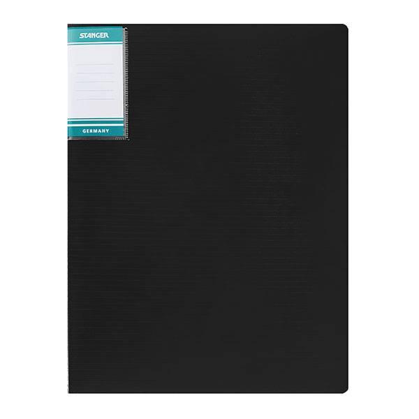 Папка с 1-м прижимом STANGER HOR LINES А4 пластик 700 мкм, черная