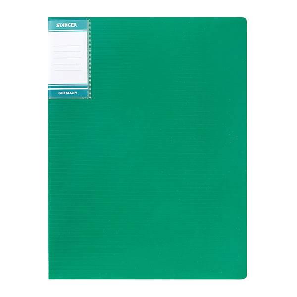 Папка с 1-м прижимом STANGER HOR LINES А4 пластик 700 мкм, зеленая