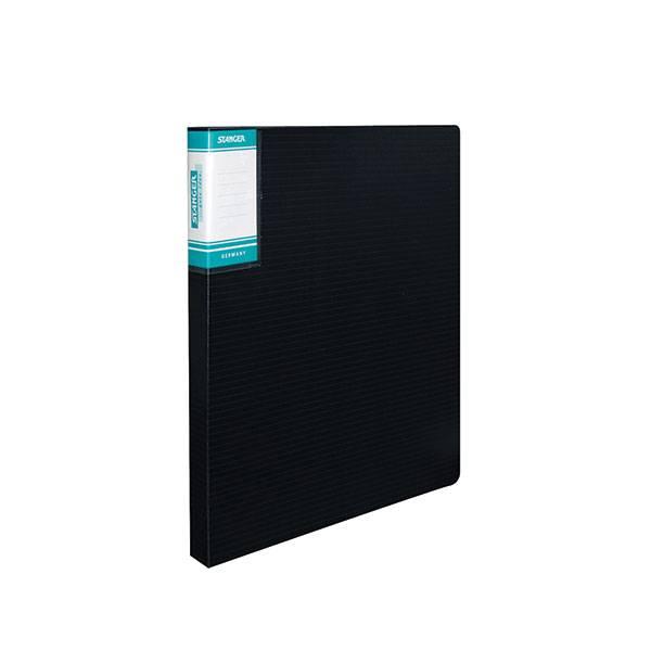 Папка с кольцами STANGER HOR LINES А4, 2 кольца, 25 мм, пластик 700 мкм, черная с внутренним карманом