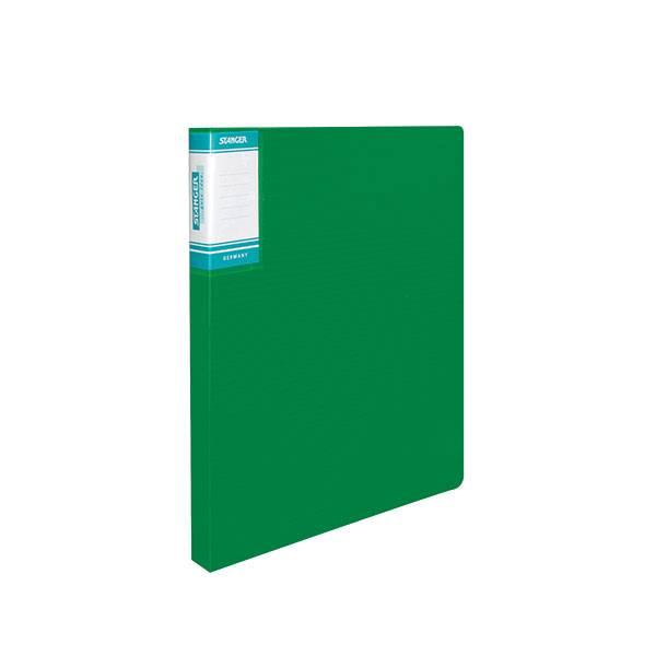 Папка с кольцами STANGER HOR LINES А4, 2 кольца, 25 мм, пластик 700 мкм, зеленая с внутренним карманом