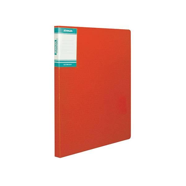 Папка-скоросшиватель STANGER HOR LINES, красная, пластик 700 мкм, карман для маркировки и внутренний