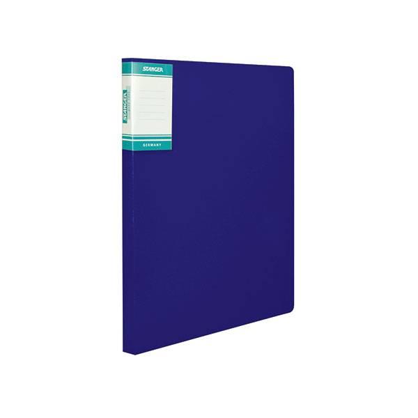 Папка-скоросшиватель STANGER HOR LINES, синяя, пластик 700 мкм, карман для маркировки и внутренний