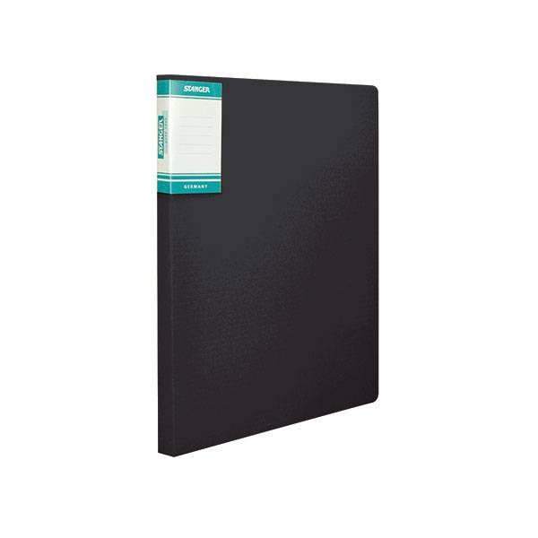 Папка-скоросшиватель STANGER HOR LINES, черная, пластик 700 мкм, карман для маркировки и внутренний