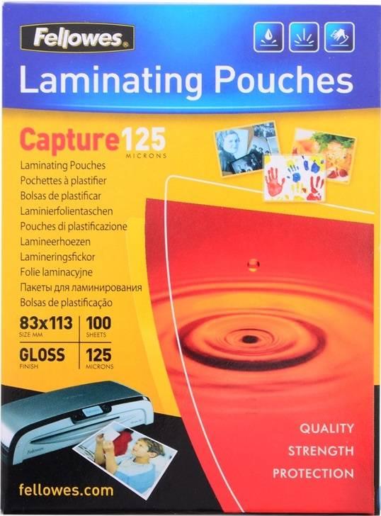 Пленка для ламинирования FELLOWES 83х113 мм 125 мкм глянцевая