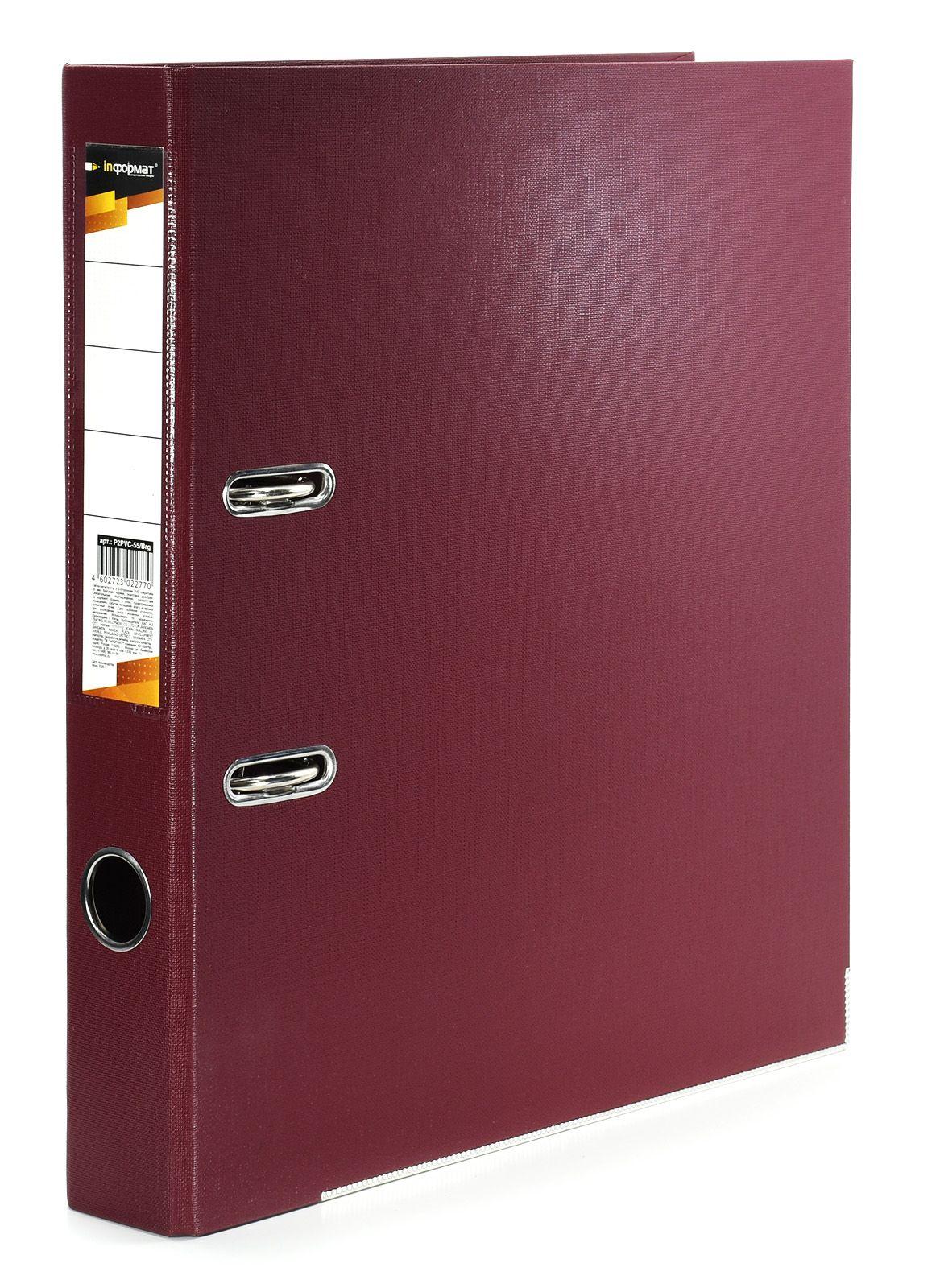 Папка-регистратор INFORMAT 55 мм двухстороннее покрытие PVC, бургунди