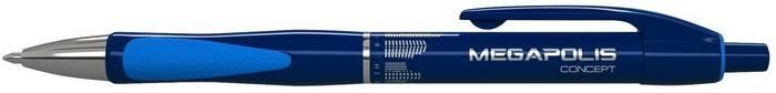 Ручка шариковая автоматическая MEGAPOLIS CONCEPT 0,7 мм синяя резиновый грип