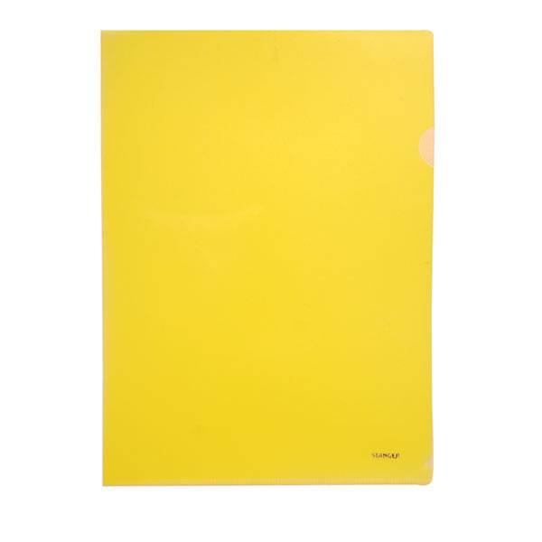 Папка-уголок STANGER А4 прозрачный пластик 200 мкм, желтая