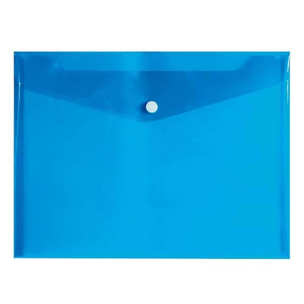 Пластиковый конверт inФОРМАТ А5+, на кнопке, прозрачный 180 мкм, синий