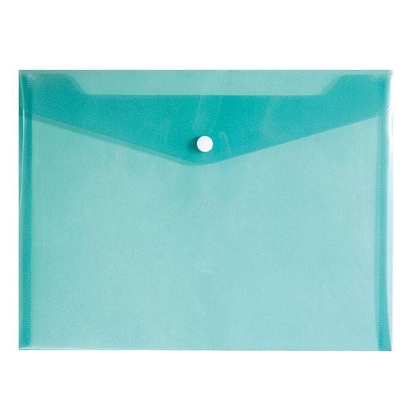 Пластиковый конверт inФОРМАТ А5+, на кнопке, прозрачный 180 мкм, зеленый