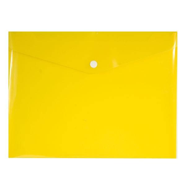 Пластиковый конверт inФОРМАТ А5+, на кнопке, прозрачный 180 мкм, желтый