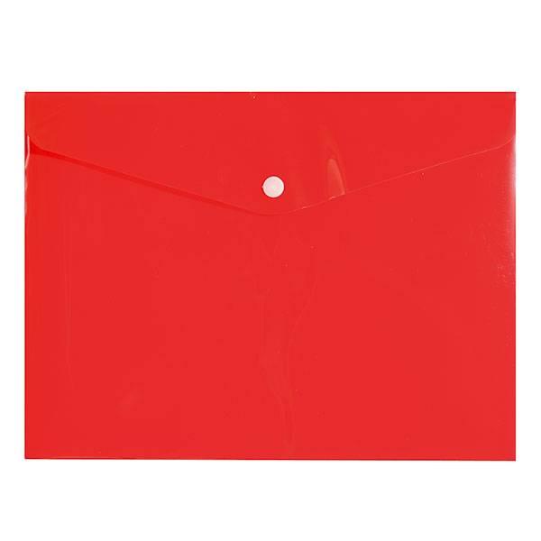 Пластиковый конверт inФОРМАТ А5+, на кнопке, прозрачный 180 мкм, красный
