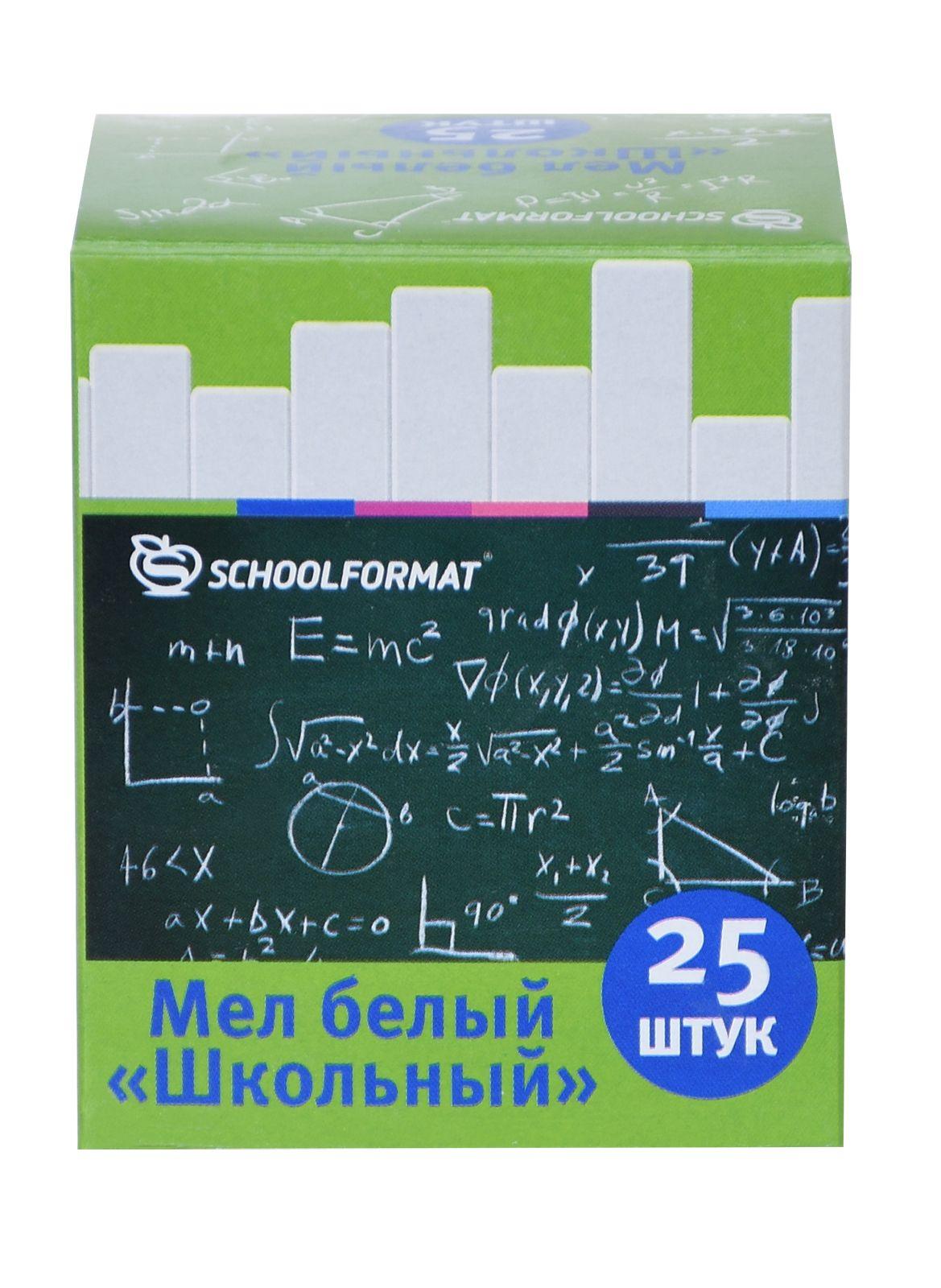 Мелки белые школьные Schoolformat 25 шт., картонная упаковка