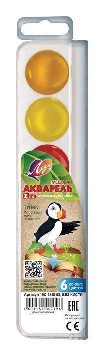 Акварель ЛУЧ ZOO 6 цветов, пластиковая упаковка, без кисти, европодвес