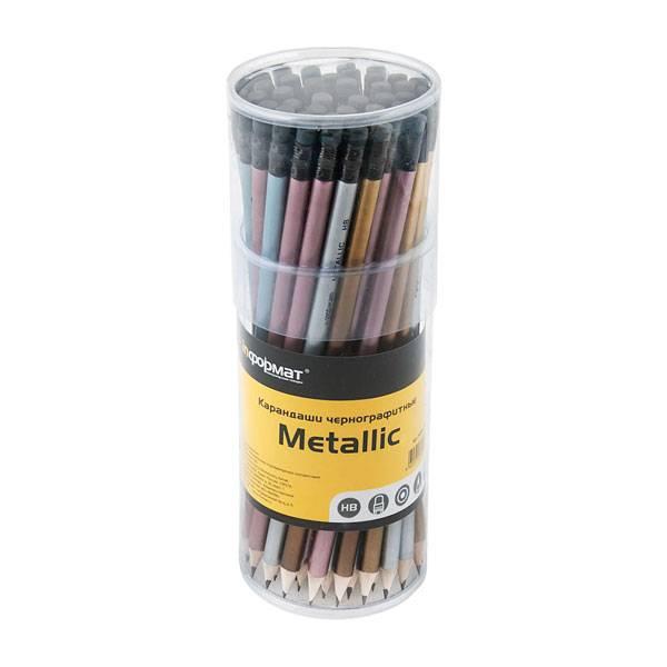 Кapандаш inФОРМАТ Metallic HB с ластиком заточенный, 48 шт. в тубе