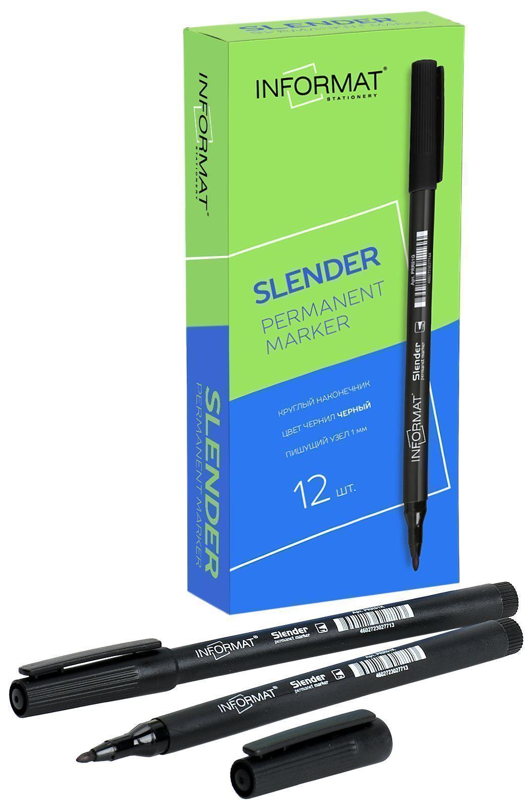 Маркер перманентный INFORMAT Slender 1 мм черный круглый