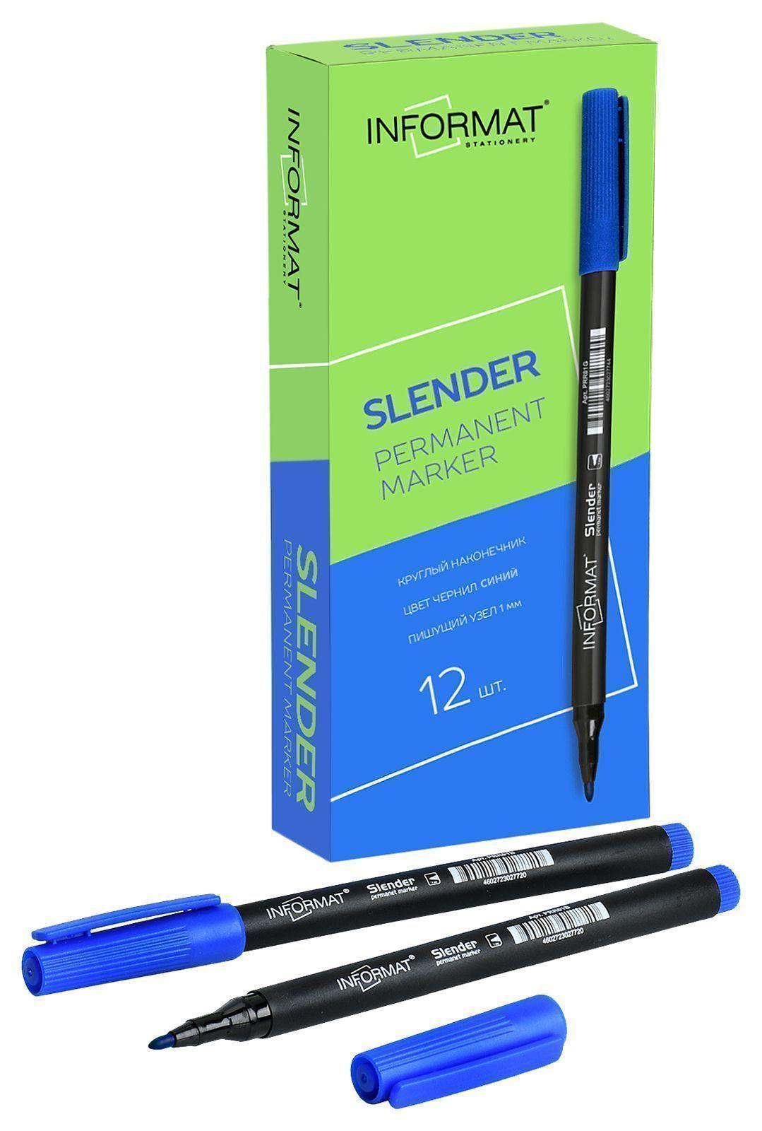 Маркер перманентный INFORMAT Slender 1 мм синий круглый