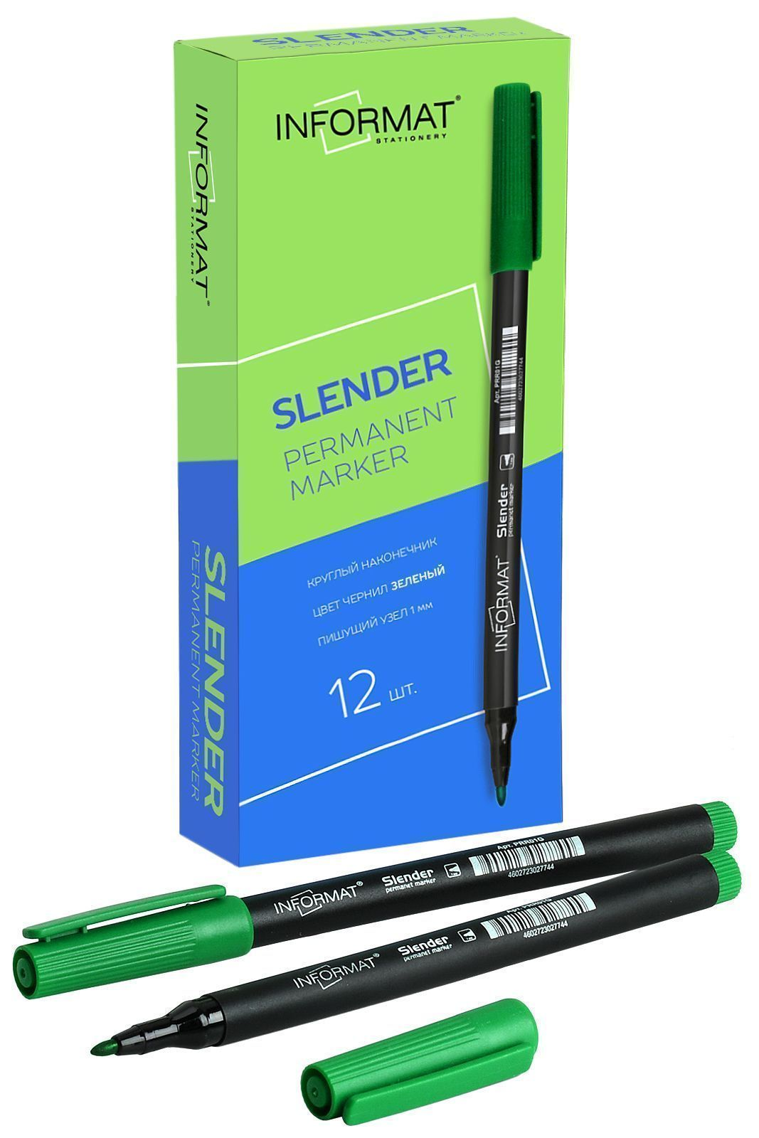 Маркер перманентный INFORMAT SLENDER 1 мм зеленый круглый