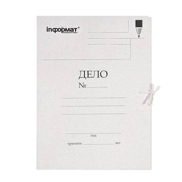Папка с завязками inФОРМАТ ДЕЛО А4 мелованный картон 320 г/м2 белая
