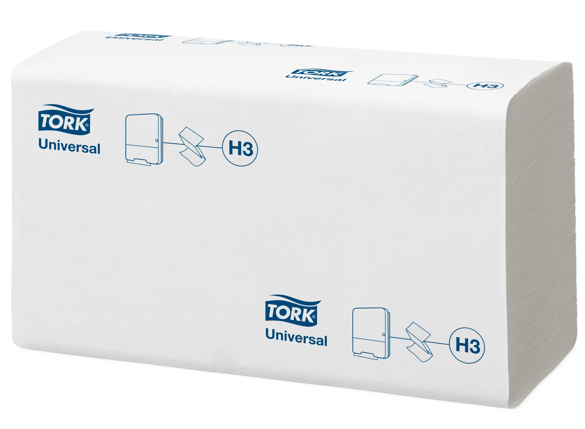 Полотенце бумажные TORK UNIVERSAL H3, 1 слойные, V(ZZ)-сложение, 23х23 см, 250 л., белый с тиснением лист