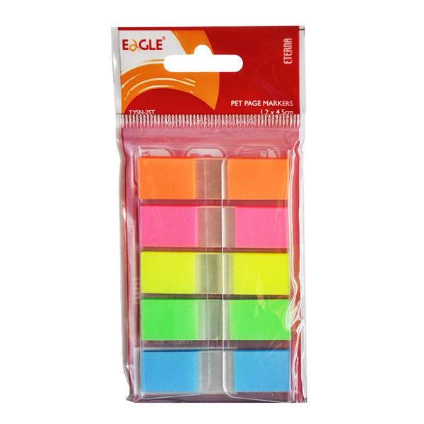 Закладки клейкие пластиковые EAGLE 5 цветов по 50 листов, 45х12 мм
