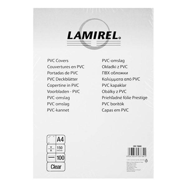 Обложка для переплета LAMIREL А4 пластик 150 мкм прозрачная 100 штук