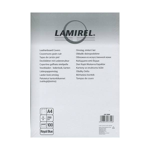 Обложка для переплета LAMIREL DELTA А4 картон 230 г/м² текстура кожа, чёрная 100 штук