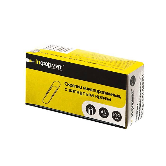 Скрепки inФОРМАТ 28 мм 100 шт никелированные с загнутым краем, картонная упаковка