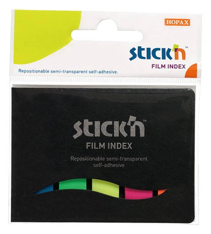 Закладки клейкие пластиковые STICK'N 5 цветов по 25 листов, 45х12 мм