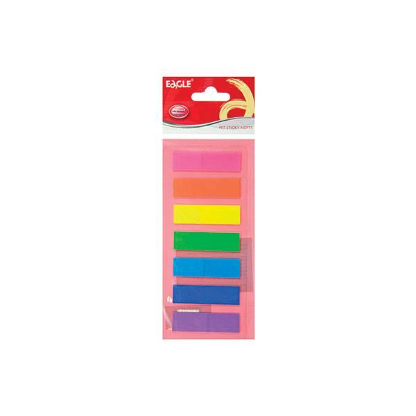 Закладки клейкие пластиковые EAGLE 7 цветов по 20 листов, 44х12,5 мм