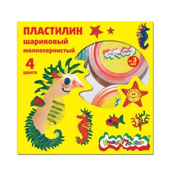 Пластилин шариковый мелкозернистый застывающий Каляка-Маляка 4 цвета, 33 г